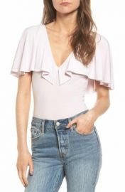 Leith Cape Overlay Bodysuit white at Nordstrom