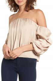 Leith Gathered Satin Off-the-Shoulder Top at Nordstrom