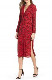 Leith Animal Print Midi Dress   Nordstrom at Nordstrom