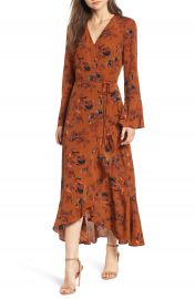 Leith Bell Sleeve Wrap Midi Dress  Regular  amp  Plus Size at Nordstrom