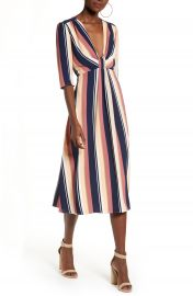 Leith Deep V-Neck Stripe Midi Dress   Nordstrom at Nordstrom