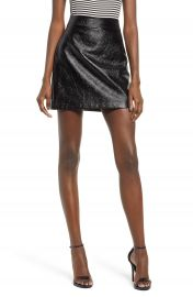 Leith Faux Patent Miniskirt at Nordstrom