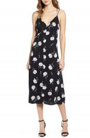 Leith Floral Strappy Midi Dress   Nordstrom at Nordstrom