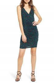 Leith Floral V-Neck Ruched Body-Con Dress  Regular  amp  Plus    Nordstrom at Nordstrom