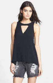 Leith Front Cutout Woven Tank at Nordstrom