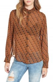 Leith Ruffle Neck Long Sleeve Top at Nordstrom