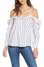 Leith Stripe Off the Shoulder Top at Nordstrom