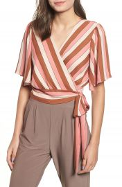 Leith Stripe Wrap Blouse at Nordstrom