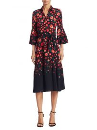 Lela Rose Floral-Print Bell-Sleeve Dress  at Saks Fifth Avenue