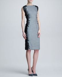 Lela Rose Flutter-Lace Sheath Dress at Neiman Marcus