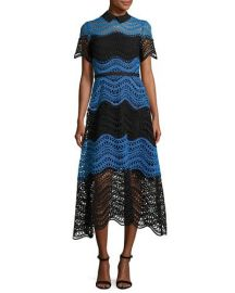 Lela Rose Wavy Striped Lace Midi Shirtdress  Black Blue at Neiman Marcus