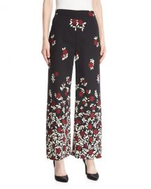 Lela Rose Wide-Leg Degrad   Floral Pants   at Neiman Marcus