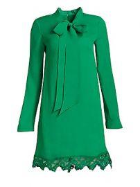 Lela Rose - Cloque Neck Tie Lace Hem Dress at Saks Fifth Avenue