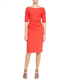 Lela Rose 34-Sleeve Side-Ruched Dress Persimmon at Neiman Marcus