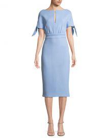Lela Rose Bow-Tie Cape-Sleeve Wool-Blend Sheath Dress   Neiman at Neiman Marcus
