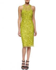 Lela Rose Cutout-Back Floral Lace Sheath Dress Citrine at Neiman Marcus