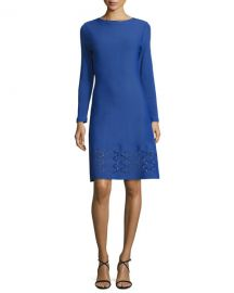 Lela Rose Diamond Laser-Cut Long-Sleeve Dress  Lapis at Neiman Marcus