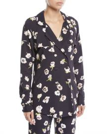 Lela Rose Double-Breasted Floral-Print Blouse at Neiman Marcus