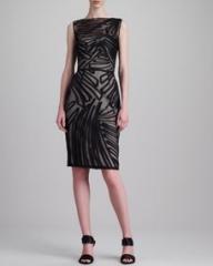 Lela Rose Fil Coupe Boat-Neck Dress Black at Neiman Marcus