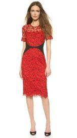 Lela Rose Fitted Lace Sheath Dress at Shopbop