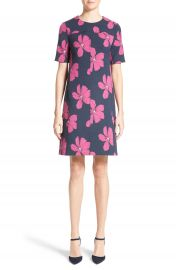 Lela Rose Floral Print Stretch Jacquard Tunic Dress at Nordstrom