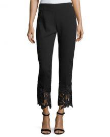 Lela Rose Guipure Lace-Hem High-Waist Wool Crepe Pants at Neiman Marcus