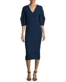 Lela Rose Half-Sleeve V-Neck Midi Dress  Navy at Neiman Marcus