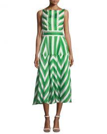 Lela Rose High-Neck Sleeveless Organza Striped Jacquard Long at Neiman Marcus