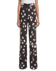 Lela Rose Maggie High-Waist Wide-Leg Floral-Print Pants at Neiman Marcus