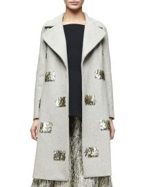 Lela Rose Metallic Fringe-Embellished Long Coat  Taupe Gold at Neiman Marcus