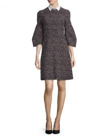 Lela Rose Printed Detachable-Collar A-Line Dress at Neiman Marcus