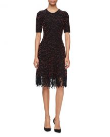 Lela Rose Speckled-Tweed Lace-Hem Dress  Black Coral   Neiman at Neiman Marcus