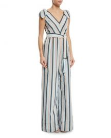Lela Rose Striped V-Neck Bow-Tie Belted Wide-Leg Jumpsuit at Neiman Marcus