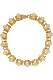 Lele Sadoughi   Groove gold-plated faux pearl necklace at Net A Porter