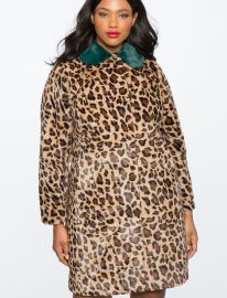 Leopard Coat with Fur Collar by Eloquii at Eloquii