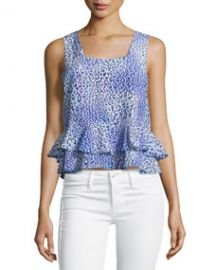 Leopard Fever Ruffled Tank Blue Crush at Last Call