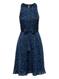 Leopard Print Racer-Neck Fit-and-Flare Dress at Banana Republic