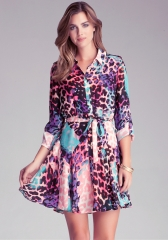 Leopard Shirt Dress at Bebe