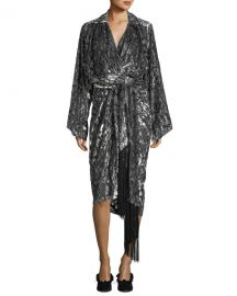 Leopard Velvet Fil Coupe Kimono Wrap Dress at Bergdorf Goodman