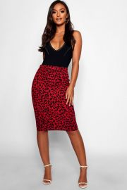 Leopard midi skirt at Boohoo