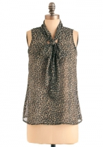 Leopard neck tie top from Modcloth at Modcloth