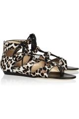 Leopard print calf hair sandals by Jimmy Choo at Net A Porter