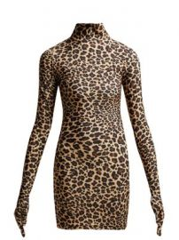Leopard-print glove-sleeved jersey dress at Matches
