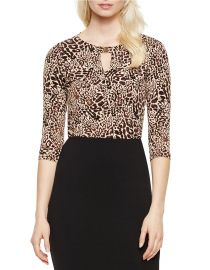 Leopard print keyhole top at Lord & Taylor