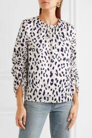 Leopard-print silk-satin blouse by Tibi at Net A Porter