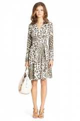 Leopard print wrap dress at DVF