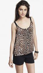 Leopard print zip front cami at Express