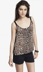 Leopard print zip front cami at Express