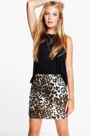 Leopard skirt at Boohoo