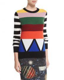 Libertine Sonia Striped Jewel-Neck Cashmere Sweater Multi Colors at Neiman Marcus